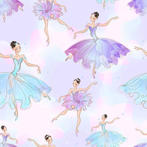 Wunderbare Ballerina Mädchen. Nahtloses Muster. Vektor. vektor