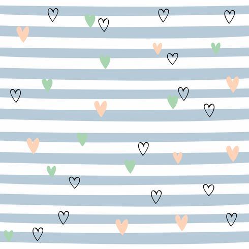 Gestreiftes nahtloses Muster mit Herzen. Nettes Muster mit blauen Streifen. Vektor