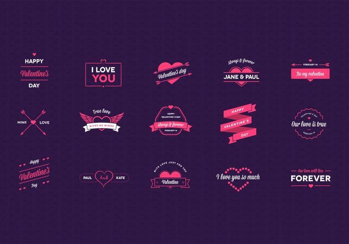 Valentinstag Abzeichen Vektor Pack