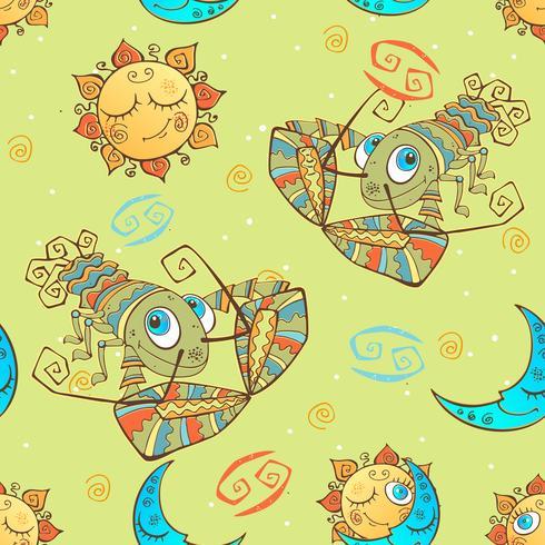 Ein Spaß nahtlose Muster für Kinder. Sternzeichen Krebs. Vektor