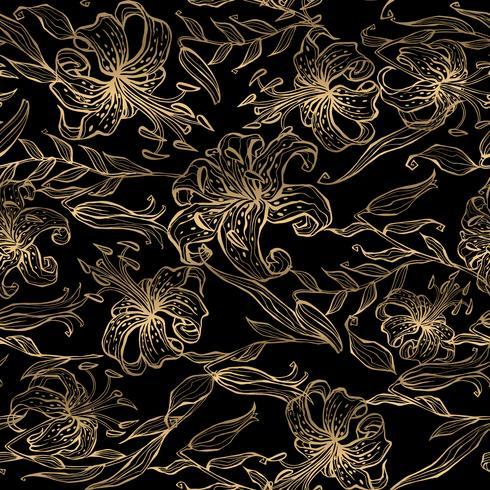 Blumengoldmuster auf schwarzem Hintergrund. Blumenstrauß aus Lilien. Vektor