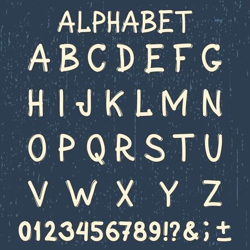 Handgjord typsnitt. Handskriven alfabet. Ursprungliga bokstäver och siffror. Tappning retro handtecknad typsnitt med grunge bakgrund. vektor