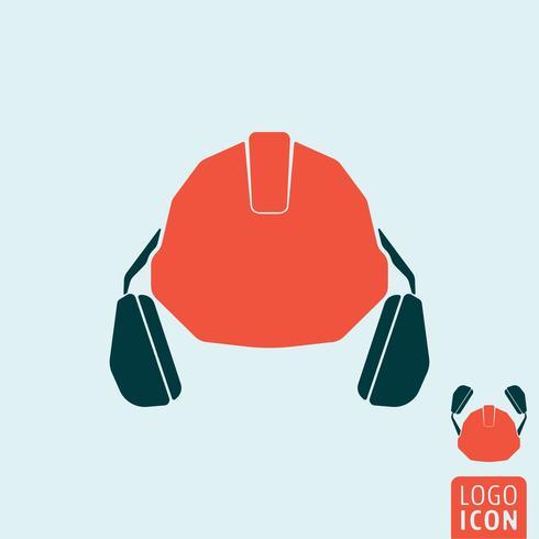Hjälm med hörlurarikonen vektor