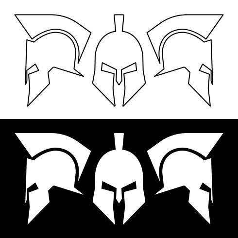 Forntida romerska eller grekiska hjälm, silhuettlinjekonstruktion vektor