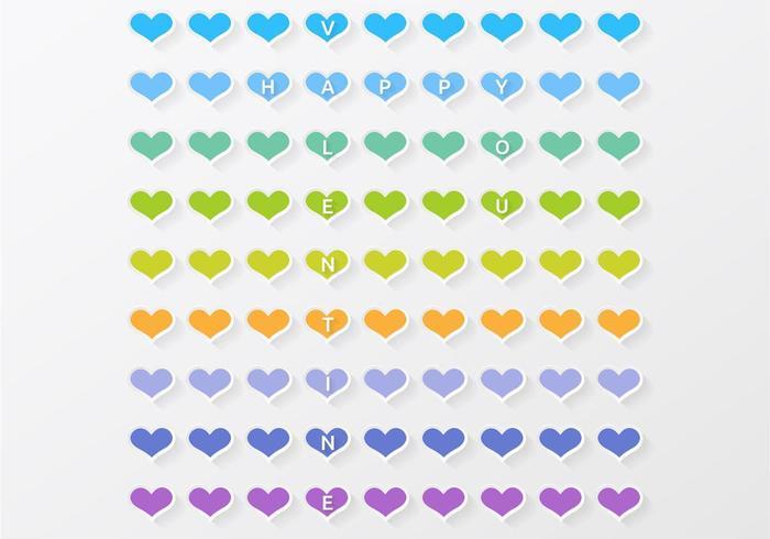 Färgglada hjärtat valentin vektor bakgrund