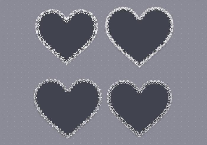 Schwarzer Spitze-Herz-Vektor-Satz zwei vektor