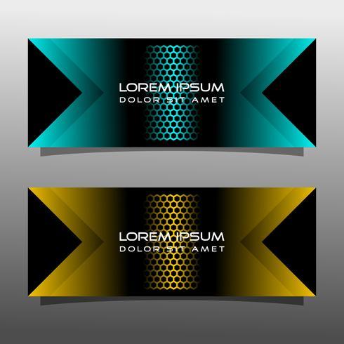 Abstraktes schwarzes Fahnentechnologie-Konzeptdesign. Glänzende goldene und blaue Farbe vektor