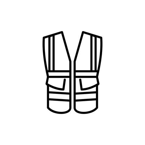 Sicherheitsweste mit Taschenumriss-Symbol vektor