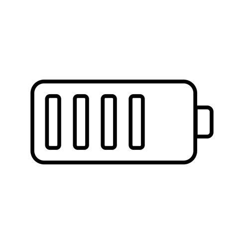 Volle Batterie Linie schwarze Ikone vektor