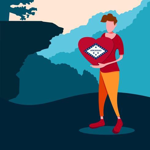 Ein Mann, der ein Arkansas-Liebeszeichen hält. Arkansas reisen vektor