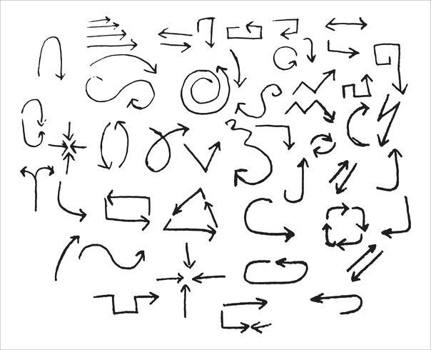 Hand gezeichnete schwarze Pfeile. Kritzeleien. Vektorabbildung getrennt auf weißem Hintergrund. Vektor-illustration vektor