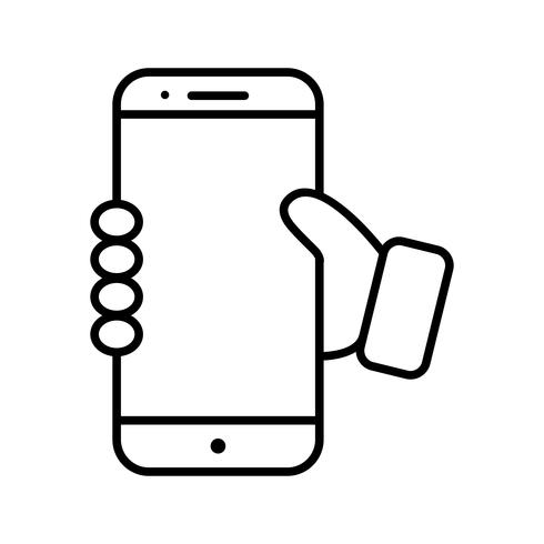 Halten Smartphone Linie schwarze Ikone vektor