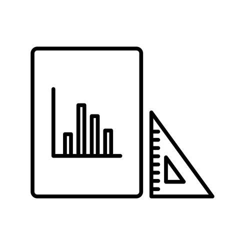 Geodreieck und Grafik Schöne Linie schwarze Ikone vektor