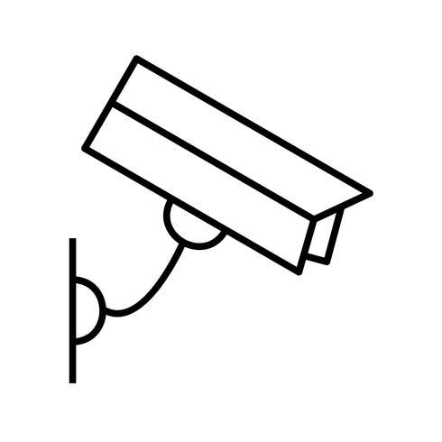 Vacker CCTV-kamera Linje svart ikon vektor