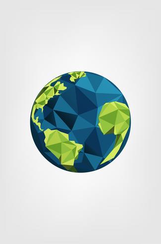 Spara Earth Planet och världen. Världsmiljödagskonceptet. geometrisk grön jord. vektor