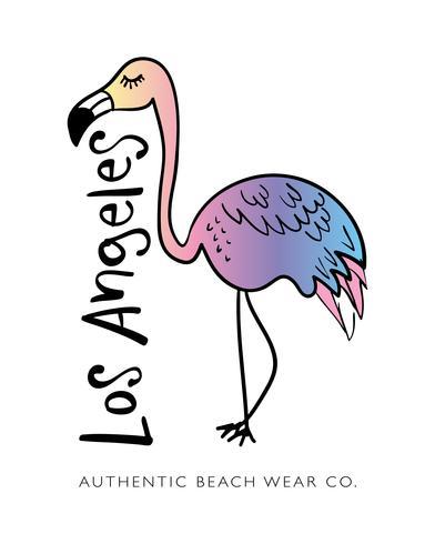 Los Angeles text och Flamingo ritning sommar semester koncept design vektor