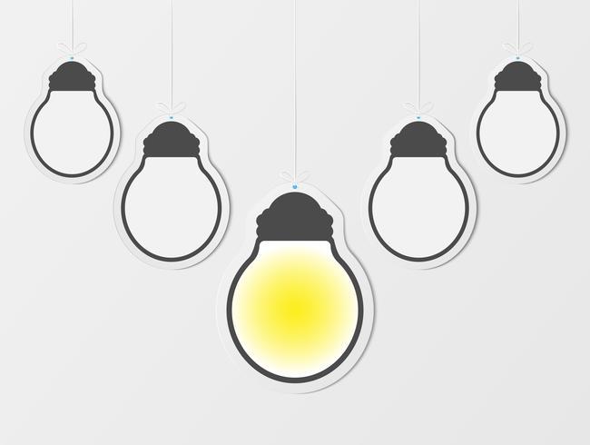Affärs kreativitet inspiration och idéer koncept med lightbulb. Blanka hängande ramar. Tomma glödlampa på lätta vägg bakcground. pappersdesign. vektor