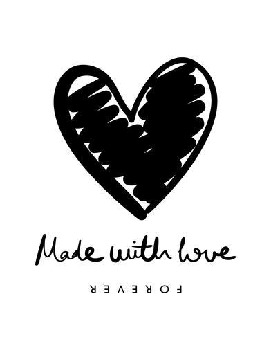 Herzform und gemacht mit Liebestextdesign vektor