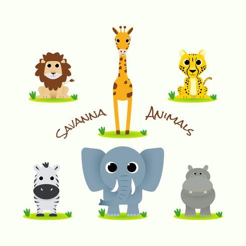 Söt Savanna djursamling vektor