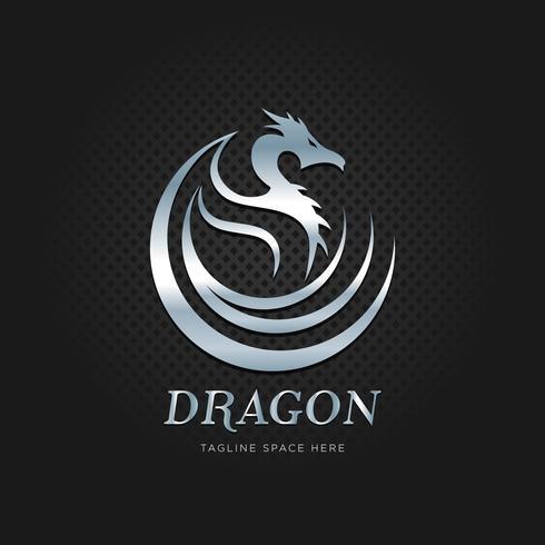 Silberner metallischer Drache Tribal Logo Design Template vektor