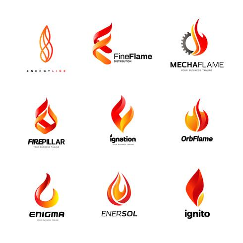 Feuer Business Logo-Design-Sammlung vektor
