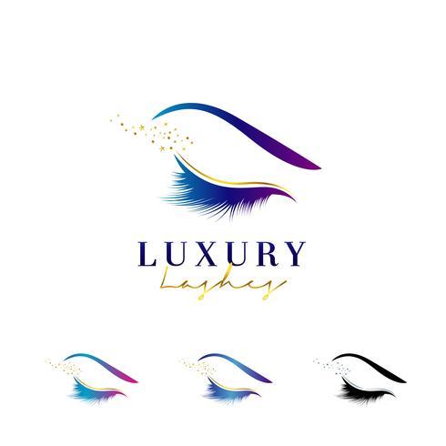 Lyxig Elegant Ögonfransar Logo Set vektor