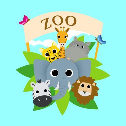 zoo söt djur grupp vektor illustration