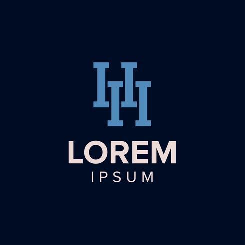 Brev H Logo konceptdesign. blå färg. vectror illustration. vektor