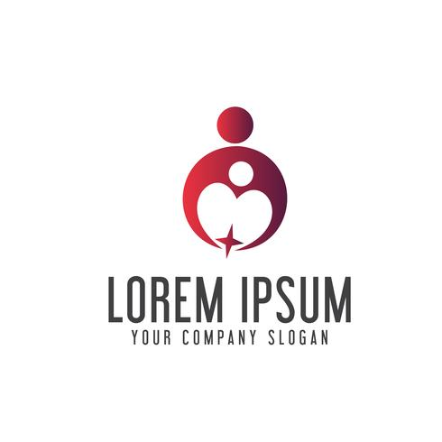 Personlig hjälpsam supportlogotyp. familjeomsorg logotyp design koncept tem vektor