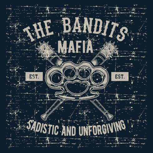 Grunge-Stil Vintage Logo Emblem Knöchel mit Baseballschläger, Banditen Mafia Handzeichnung Vektor