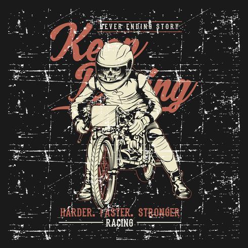 Grunge-Stil Vintage Motorradrennen Typografie Grafiken Handzeichnung Vektor