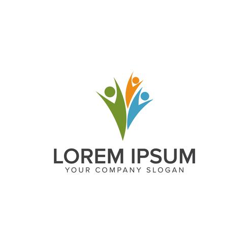 Logo-Design-Konzept-Vorlage für glückliche Menschen vektor