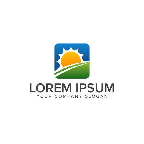 Logodesign-Konzeptschablone Sun Natural lanscaping vektor