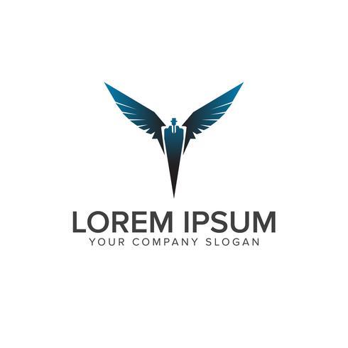 affärsman med vingar logotyp. affärs- och finansdesignkonceptmall. vektor