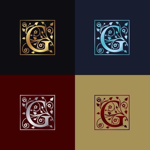 Brev G Dekorativa logotyp vektor