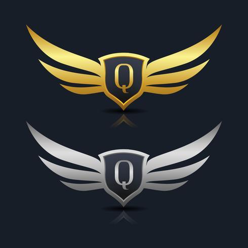 Wings Shield Letter Q Logo Mall vektor