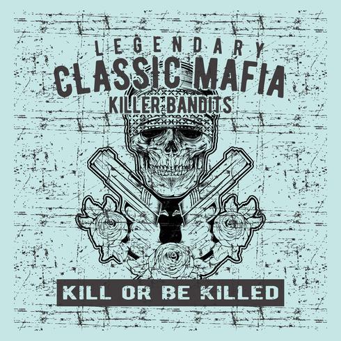 Grunge-Stil Vintage Schädel Mafia Waffe Handzeichnung Vektor halten