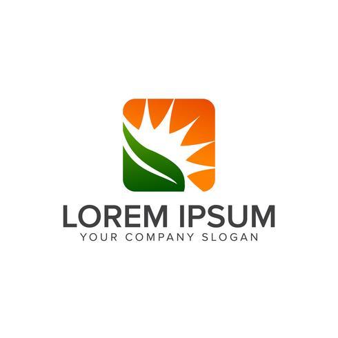 blad och sol logo. Landskapsarkitektur Leaf Garden Nature logo design co vektor