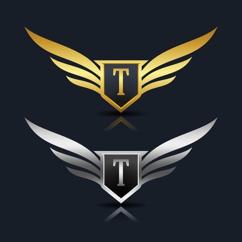Wings Shield Letter T Logo Mall vektor