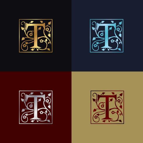 Letter T Dekorativ logotyp vektor