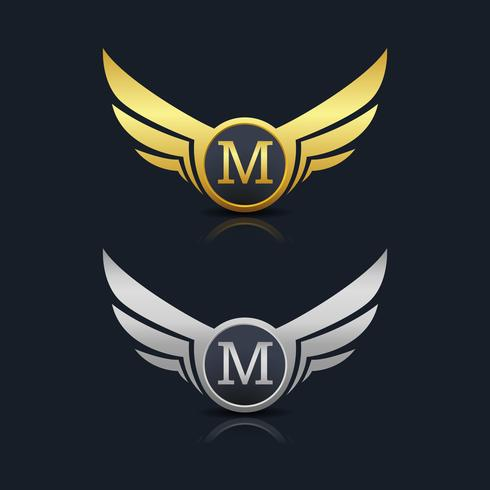 Wings Shield Letter M Logo Mall vektor