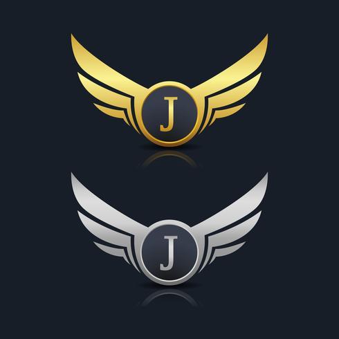 Brev J emblem Logo vektor