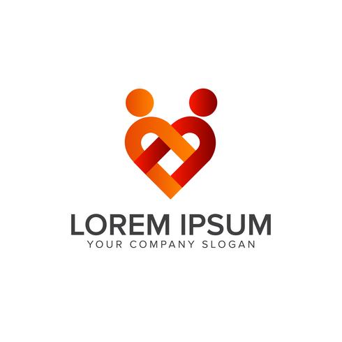 Paar Leute lieben Logo-Design-Konzept-Vorlage vektor