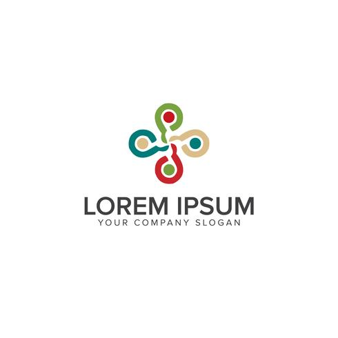 Freundschaft, Teamarbeit, Konnektivität Logo-Design-Konzept-Vorlage vektor