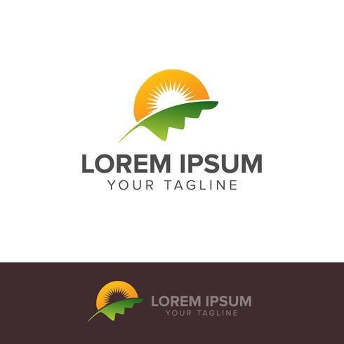Natur-grüne Landschaftssonnenaufgang Logo Template vektor