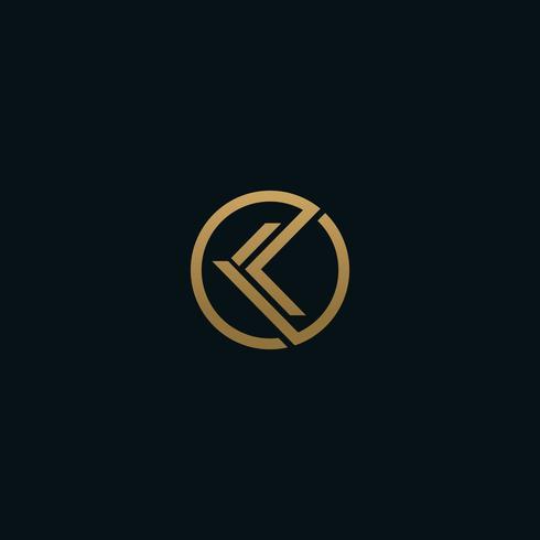 Letter K-logotyp, Cirkelformsymbol, grön och blå färg, Techno vektor