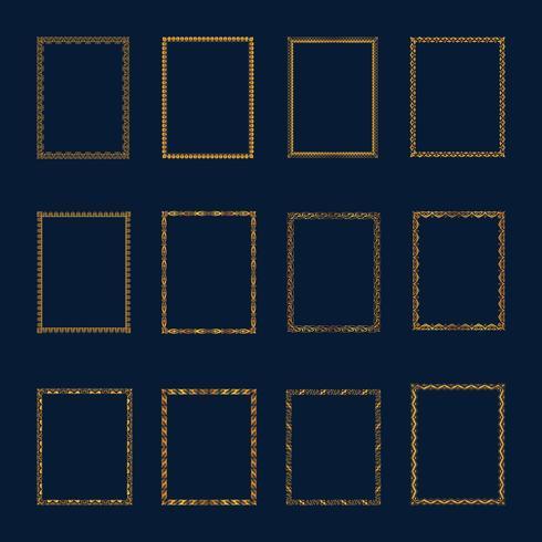 Set med lyxiga gyllene ramar och gränser. Ställ in gyllene ramar t vektor