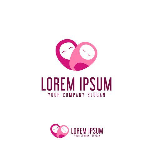 Mütter lieben Pflege Symbol Logo Design-Konzept-Vorlage vektor