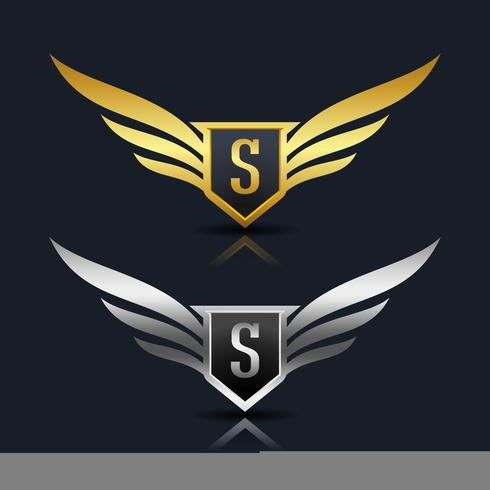 Wings Shield Letter S Logotypmall vektor
