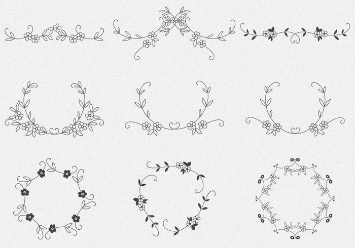 Hand gezeichneter Blumen-Rahmen-Vektor-Satz vektor